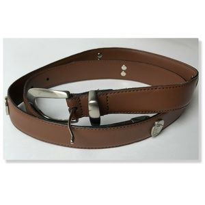 Men's Genuine Leather Brown Belt Golf Conchos L